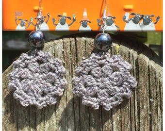 Boho style earrings, grey crochet earrings with hematite beads, bohemian earrings, bohochic, gypsy style