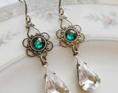 75% Off Price Sale- Emerald Green Swarovski Crystal with Vintage Glass Teardrop