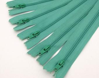 5 Zippers - 7 inch - soft green - destash - Zipper Lot - nylon