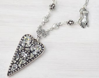 Mosaic Necklace, crystal pendant, evil eye jewelry, neutral colors, heart pendant, sacred heart necklace, rhinestone necklace, mosaic, gift