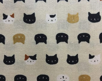 Quilt Gate Hyakka Ryoran CONEKO little cat faces cotton fabric HR3220-12A