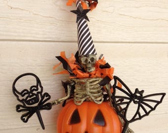 Halloween Decoration  Skeleton  in a Jack o Lantern Pail Halloween Ornament