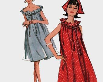1960s MOD Laundry Bag Shift Dress & Scarf Sewing Pattern McCalls 7433 60s Mad Men Era Tent Dress Pattern Size Med 12-14 B32-34