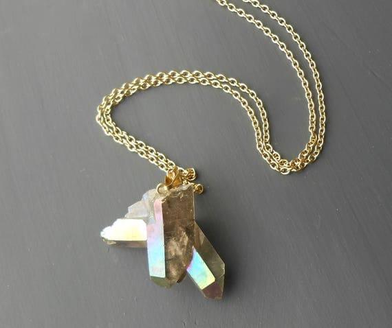 Crystal Necklace, Long Gold Plated Rainbow Quartz Pendant Necklace