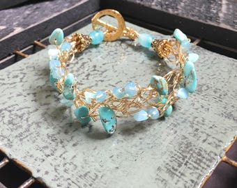 Turquoise and Gold Wire Crochet Bracelet