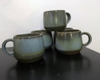 Five Blue Frankoma Coffee Cups Mugs Frankoma mid century pottery