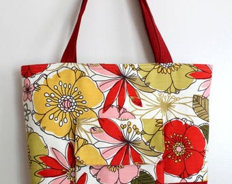 Classic Tote Shoulder Bag - Fabric Purse - Red Floral - Summer Shoulder Purse