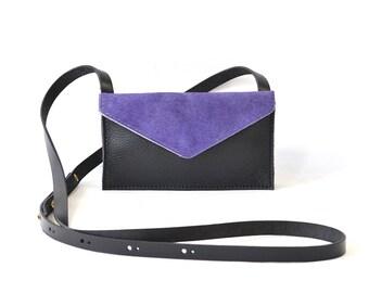 Eve - Handmade Purple & Black Leather Cross Body Shoulder Purse Zip Pouch. SS17