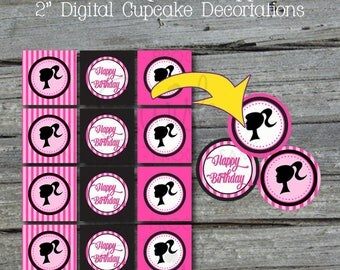 "Barbie Party Cupcake Toppers | Barbie Printable 2"" circles 