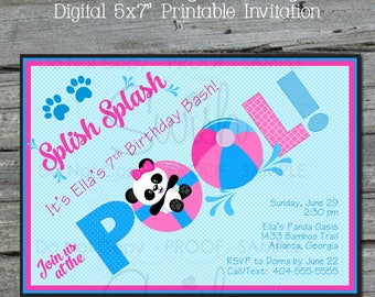 Panda Pool Birthday Invitation   Beach Party   First birthday   Panda Bear Party   Digital Party Invite - 5x7 Panda Birthday