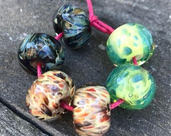 Lampwork Beads - Boro Beads - Earring Pairs Purple Green Tan
