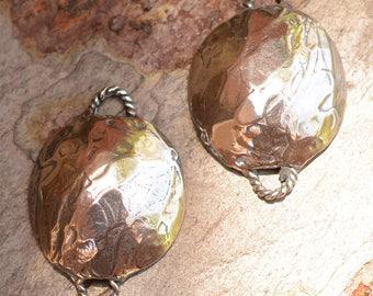 One Artisan Sterling Silver Domed Bracelet Links, or Domed Earring Dangles, LL-675/1