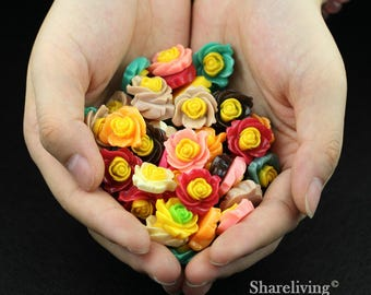 Clearance Sale -  Lots of 100pcs Mixed Color 3D Resin Flower Cabochons Charms  -- CLS004E