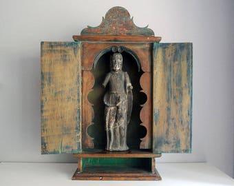 Brazilian Baroque Oratory, Antique Wood Altar Piece, 19th Century Oratorio, South American Folk Art, Religious Art Shrine, Rustic Home Decor