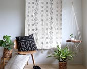 White Mud Cloth Tapestry, Large Wallhanging, African Mudcloth Wall Hanging, Geometric Wall Art, Tassel Throw Tapestry, Bohemian Home Decor