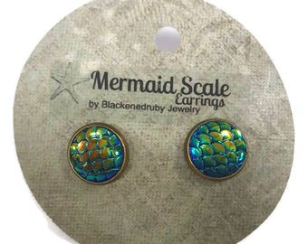 Mermaid Scale Earrings - Mixed Blue/Green Metallic