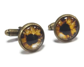 Gold/Brown Eye Cufflinks