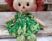 Raggedy Annie Primitive Dolls Lil Leslie Annie Raggedy Ann Doll Green St. Patricks Dress Annie Doll