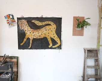 LEOPARD   Original Faye Moorhouse Painting   Acrylic paint on stuck together paper   116 x 84 cm