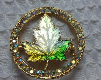 Crystal Embellished Pin with Green & Gold Maple Leaf
