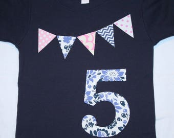 Girls 5th Birthday Shirt - Pennant Bunting and Number 5 - size 5 short sleeve navy with light blue and pink pastels