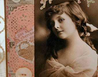 Happy Birthday Dear One Pink Collage  card,handmade card