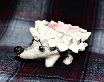 "Tiny Handmade Ceramic HEDGEHOG ""Whatsit"" Holder"