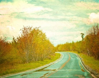 50% OFF SALE Landscape Photography Travel Decor Nature Photo Abstract Teal Road with Yellow and Green 5x5 Inch Fine Art Photography Print Se