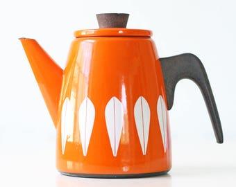 Vintage Cathrineholm Teapot, Orange Lotus Tea Kettle