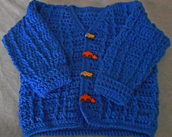 Crocheted Toddler Boy's Sweater- Boy Royal Blue Sweater - Royal Blue Toddler Cardigan - Crocheted Boy Cardigan - Toddler Boy Cardigan
