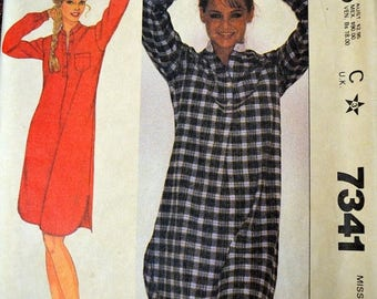 Christmas in July Vintage Sewing Pattern McCall's 7341 Misses' Nightshirt COMPLETE Bust 32-34 inch