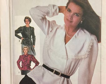 80's Simplicity 7229 Misses' Blouse  size 12 Bust 34 inches  Uncut Complete Sewing Pattern