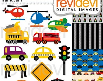 50% OFF SALE Transportation clip art / digital images / City Traffic Jam Clip arts 07512