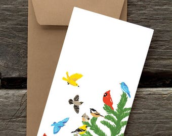Birds on Fir Tree -- 8 Blank flat cards and envelopes