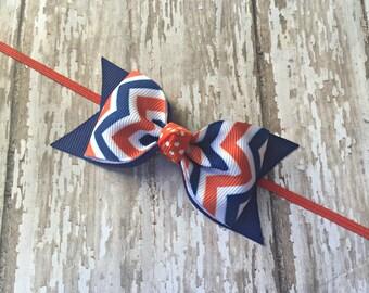 Florida Inspired Headband Gators Inspired Baby Headband Blue and Orange Headband Bow Headband Toddler Hair Bow Florida Gators Baby Bow