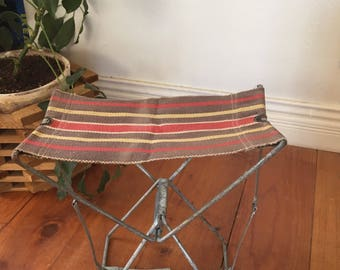 Vintage Folding Camp Stool, Canvas seat fishing stool. Folding Metal Footstool, Home and Cabin Decor
