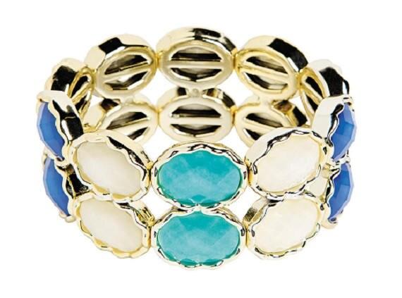 Oval Blue and White Stretch Bracelet