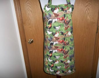Womens Full Apron Chickens Roosters Apron Reversible with Front Pocket Chefs Apron Cooking Apron Kitchen Apron Hostess Gift Handmade