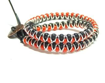 wrap bracelet,beaded double wrap bracelet,red wrap bracelet, black wrap bracelet,sterling silver boho bracelet,teens,girls,boys,women,men