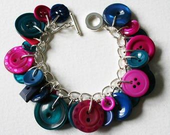Button Bracelet Teal Navy Blue Magenta Pink