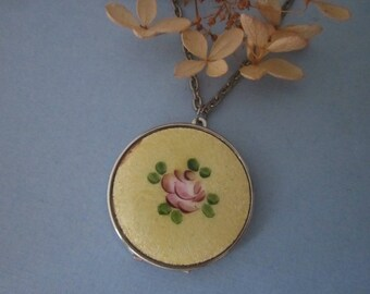 Vintage Enamel Locket Necklace guilloche enamel flower locket