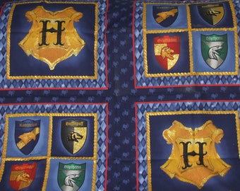 Vintage Harry Potter Fabric Pillow Panels Set of 4 w/ Trim Discontinued Out of Production * Hard To Find *