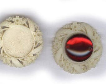 vintage round carved CELLULOID FINDING frame shape one PAIR japan rare shape bridal supply carved celluloid you can glue in a cabochon