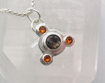 Crop Circle Super Seven and Citrine Pendant Artisan Jewelry Magick Sterling Silver