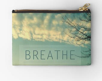 cute carry-all pouch- pencil case- nature photography- typography- quote- zen- light green and white- purse organizer- phone holder- clouds
