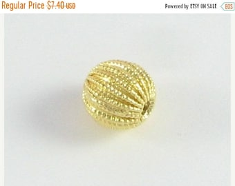SHOP SALE Gold Vermeil 10mm Round Bead 24k Gold over Sterling Silver Fancy Corrugated Bead Focal Beads (2 beads)