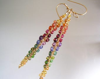 Rainbow Gemstone Encrusted Linear Earrings with Amethyst, Tanzanite, Sapphire, Chrome Diopside