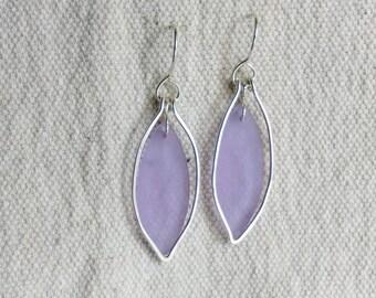 Pale lavendar sea glass earrings in sterling