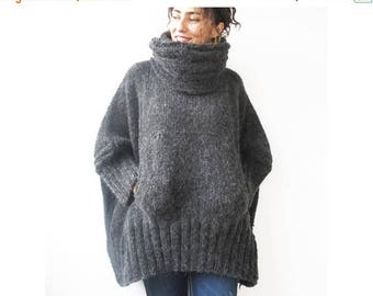 20% WINTER SALE Dark Gray Hand Knitted Sweater with Accordion Hood and Pocket Plus Size Over Size Tunic - Dress Sweater by Afra