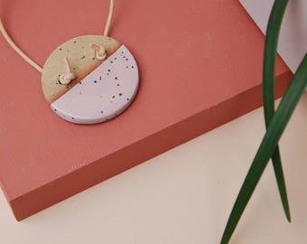 Ceramic Necklace / Stoneware Circle Necklace / Minimalist Necklace